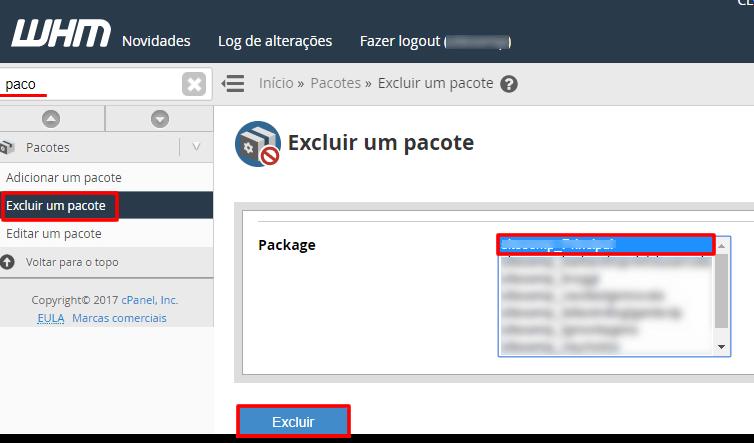 Excluir um pacote no WHM
