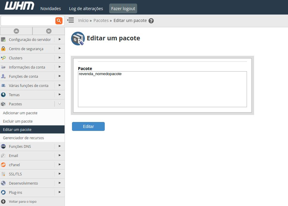 Editar pacote no WHM